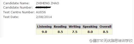#墨尔本无忧雅思光荣榜#【2014.8.2首个4个7】恭喜墨尔本无忧雅思1对1学员Sam在8月2日的考试中取得听力9,阅读8.5,写作7.5,口语8,总分8.5分的好成绩[鼓掌]再经历了1对1的历练后,写作突飞猛进,直接从6.5提升至7.5,4个8的梦想似乎就在眼前了,加油,Sam,向4个8进发吧!~ [心] 我们与你并肩战斗!