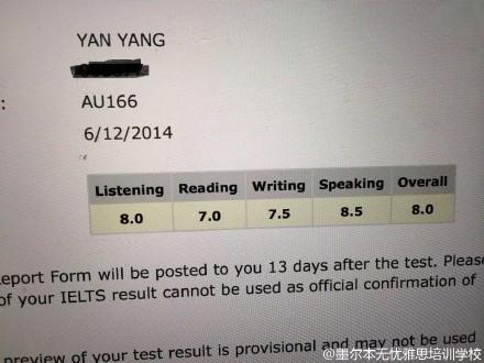 恭喜墨尔本无忧雅思学员 Yang yan